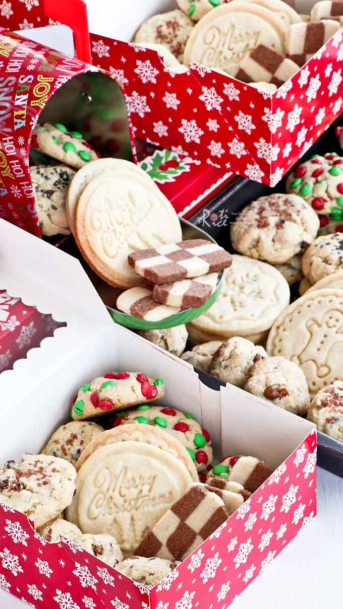 12 Days of Christmas Cookies with traditional shortbread, gingerbread, checkerboard, linzer, sweet salty, gluten free, egg free, and sugar cookies. | RotiNRice.com