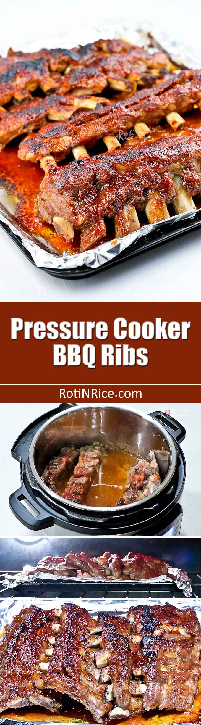 Make this fall-off-the-bone tender Pressure Cooker BBQ Ribs in just over an hour. Broil for a few minutes to get that beautiful finish. | RotiNRice.com