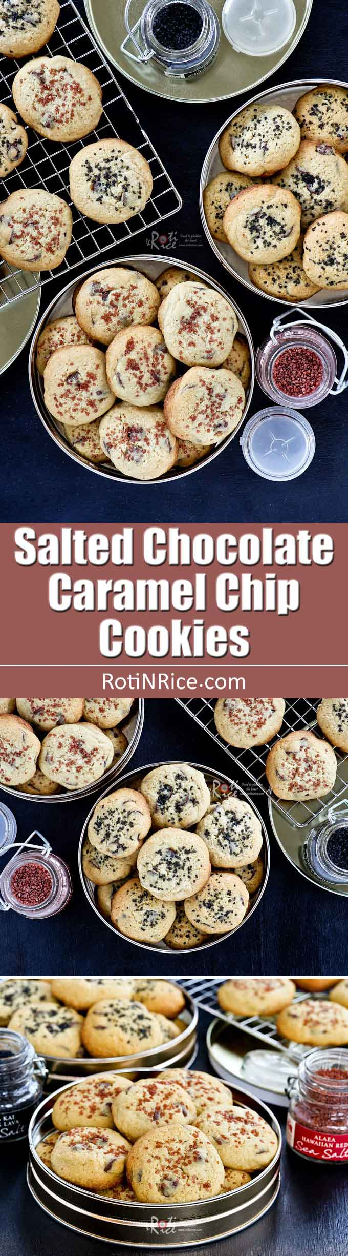 Naturally colored sea salt gives these Salted Chocolate Caramel Chip Cookies a sweet salty flavor. The combination of sugars provide the perfect texture. | RotiNRice.com