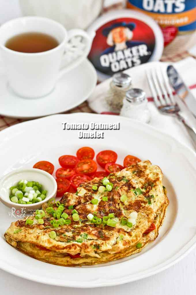 Start your day right with this quick and easy Tomato Oatmeal Omelet. It is delicious and takes only 15 minutes to prepare. | RotiNRice.com
