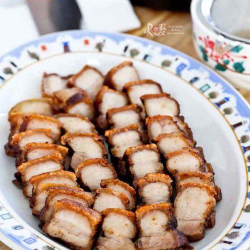 Crispy Pork Belly ready to be served.