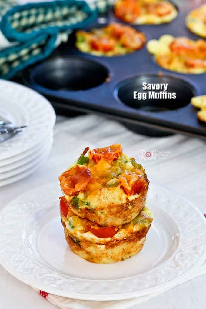 These delicious Savory Egg Muffins are great for breakfast or mid morning snack. They will keep you energized and satisfied through the morning. | RotiNRice.com