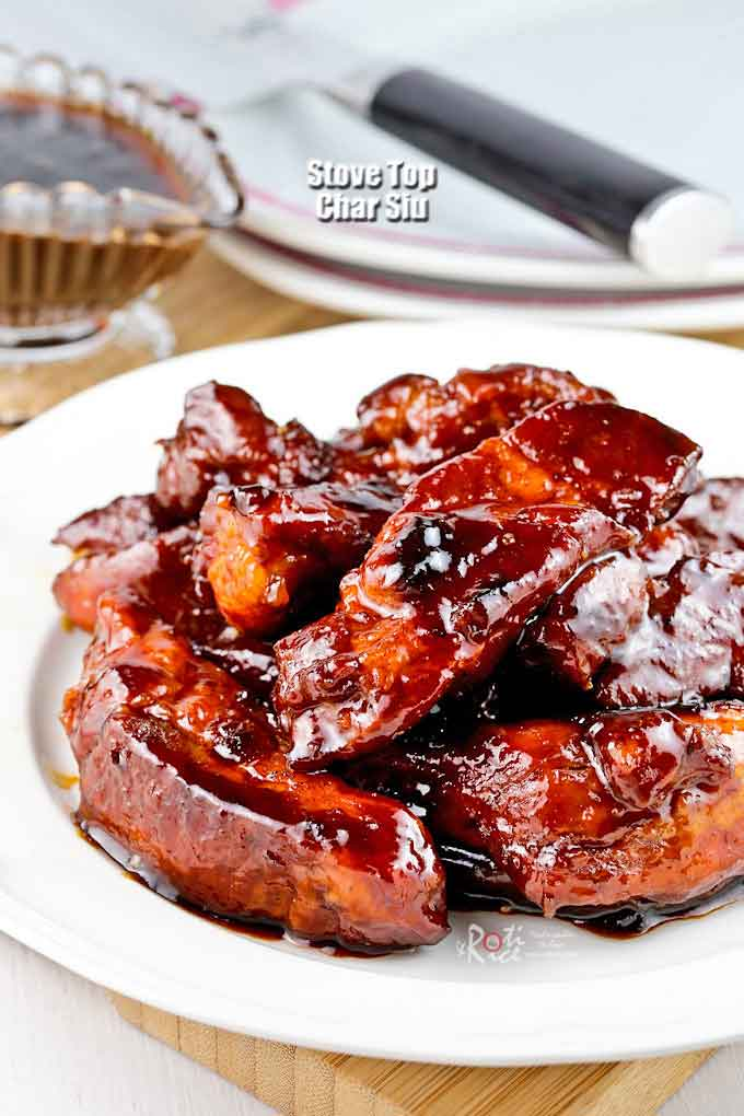 This Stove Top Char Siu (Chinese BBQ Pork) is just as sweet, sticky, and delicious. Watch it disappear in no time when served. Easy to prepare. | RotiNRice.com