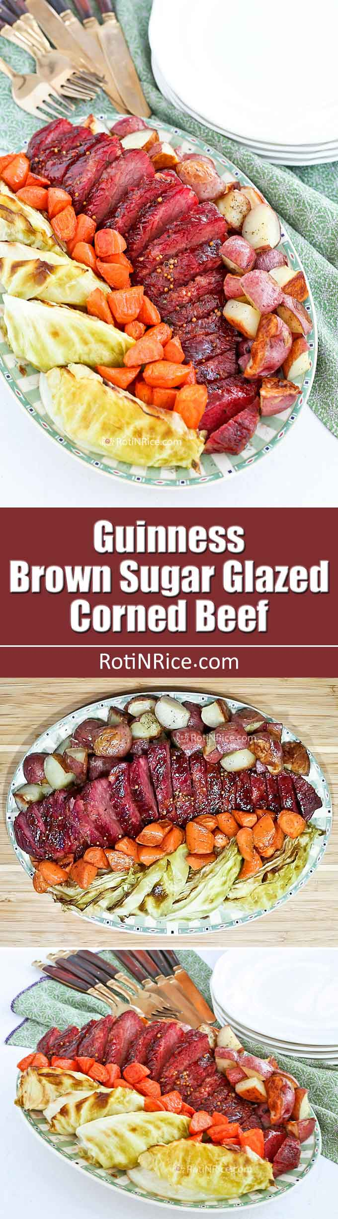 Treat family and friends to this flavorful Guinness Brown Sugar Glazed Corned Beef. The sweet malty glaze gives this roasted corned beef its distinctive flavor and beautiful appearance. A must-try! | RotiNRice.com