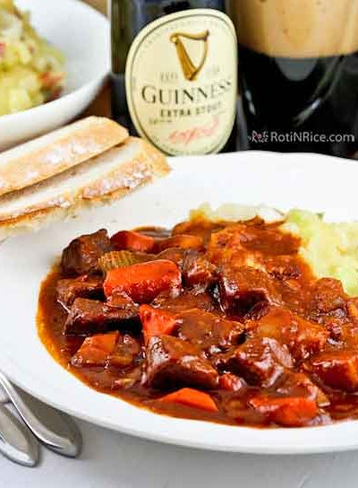 This mouthwatering Guinness Beef Stew with the unmistakable flavor of Guinness stout is rich and robust. Perfect served with mashed potatoes or crusty bread. | RotiNRice.com