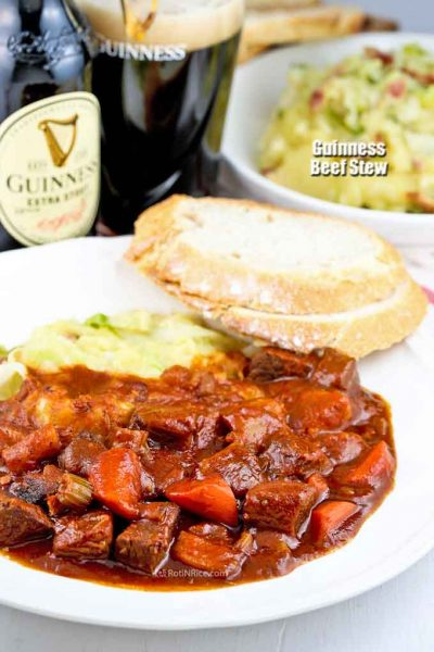Guinness Beef Stew served with crusty bread.
