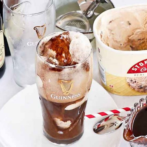 Round off an Irish themed or weekend dinner with this delicious Guinness Chocolate Syrup Ice Cream Float. Guinness stout, chocolate, and ice cream make this dessert so yummy!   RotiNRice.com
