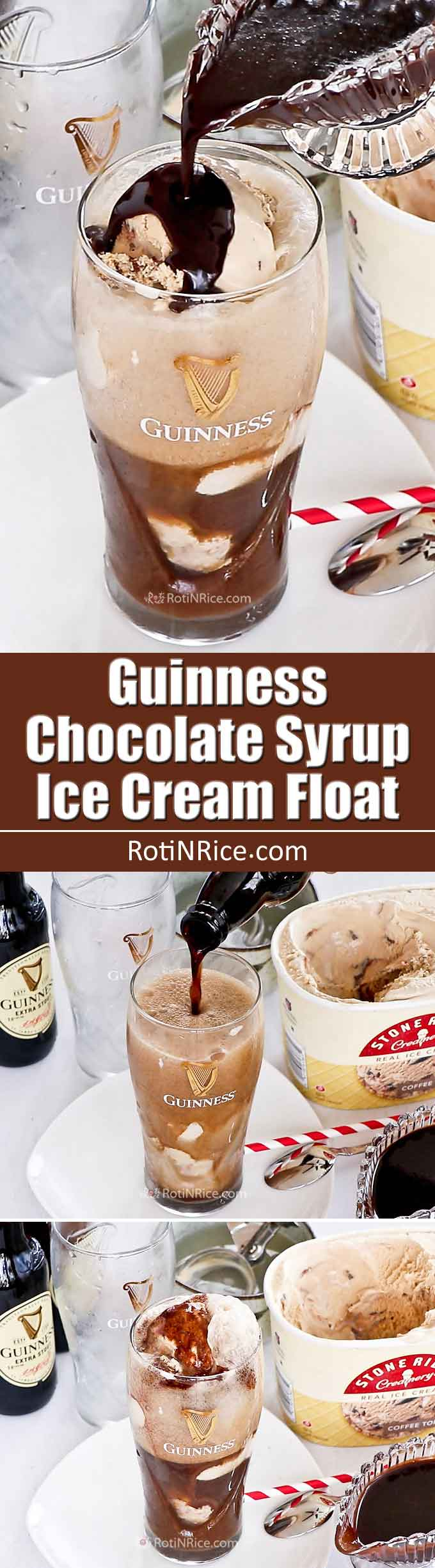 Round off an Irish or weekend themed dinner with this delicious Guinness Chocolate Syrup Ice Cream Float. Guinness stout, chocolate, and ice cream make this dessert so yummy! | RotiNRice.com
