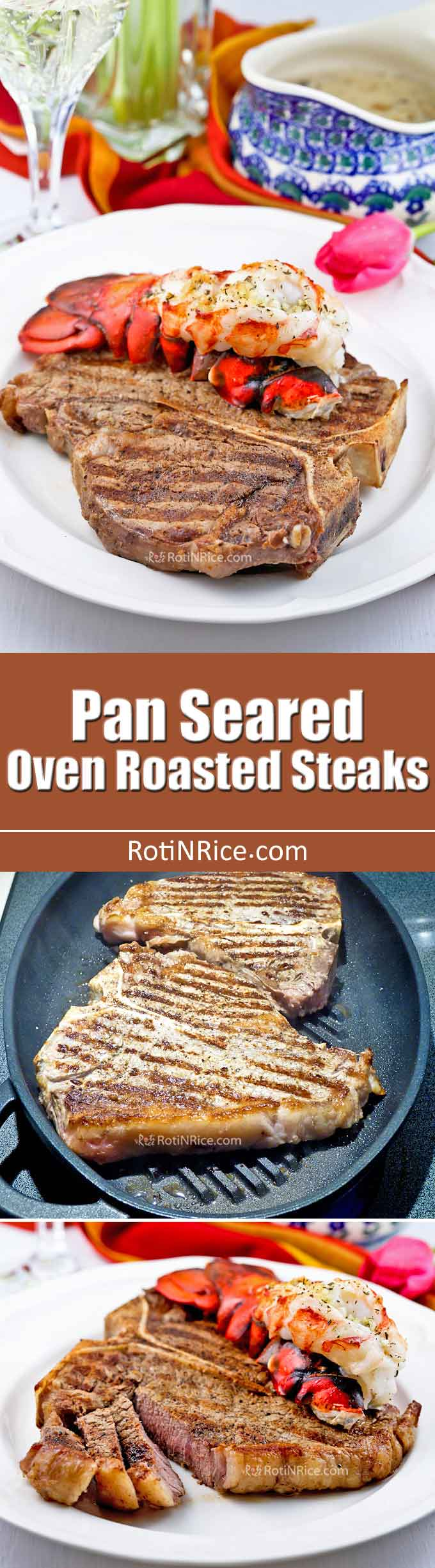 Enjoy Pan Seared Oven Roasted Steaks with grilled marks any time of the year even when it is cold outside. Takes only minutes to prepare in the comfort of your kitchen. | RotiNRice.com