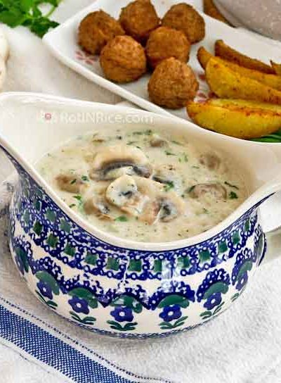 This Creamy Mushroom Sauce is delicious served with steaks, meatballs, chicken, pork, vegetables, and potatoes.