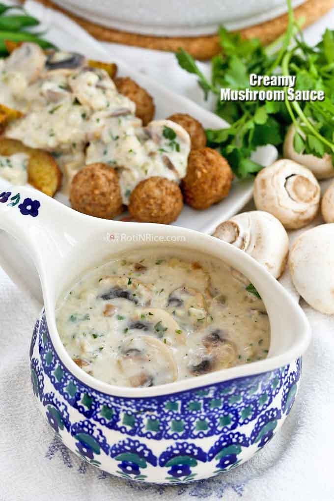 This delicious Creamy Mushroom Sauce is great served with meats, vegetables, and potatoes.