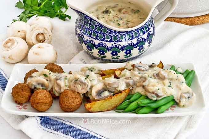 This Creamy Mushroom Sauce is perfect served with meatballs, vegetables, and potatoes.