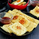 Light and tasty Pan Fried Vegetarian Omelet made with tofu, carrots, and beancurd sheets. Can be served as an appetizer, snack, or side dish. | RotiNRice.com #veganomelet #vegetarianomelet #omelet