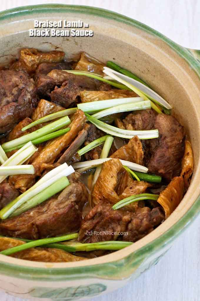 Asian style Braised Lamb in Black Bean Sauce cooked with beancurd sticks to soak up all the wonderful flavors of the meat and sauce. Great with rice. | RotiNRice.com