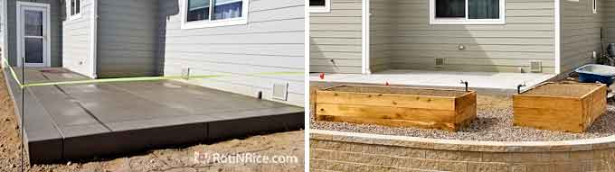 Concrete patio and vegetable boxes