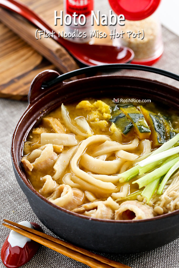 Delicious hoto noodles cooked and served in a cast iron pot.
