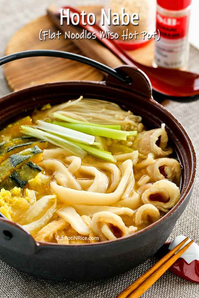 Warm and comforting Hoto Noodles in a cast iron pot.