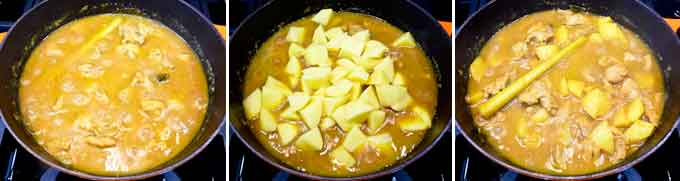 Adding potatoes to the curry