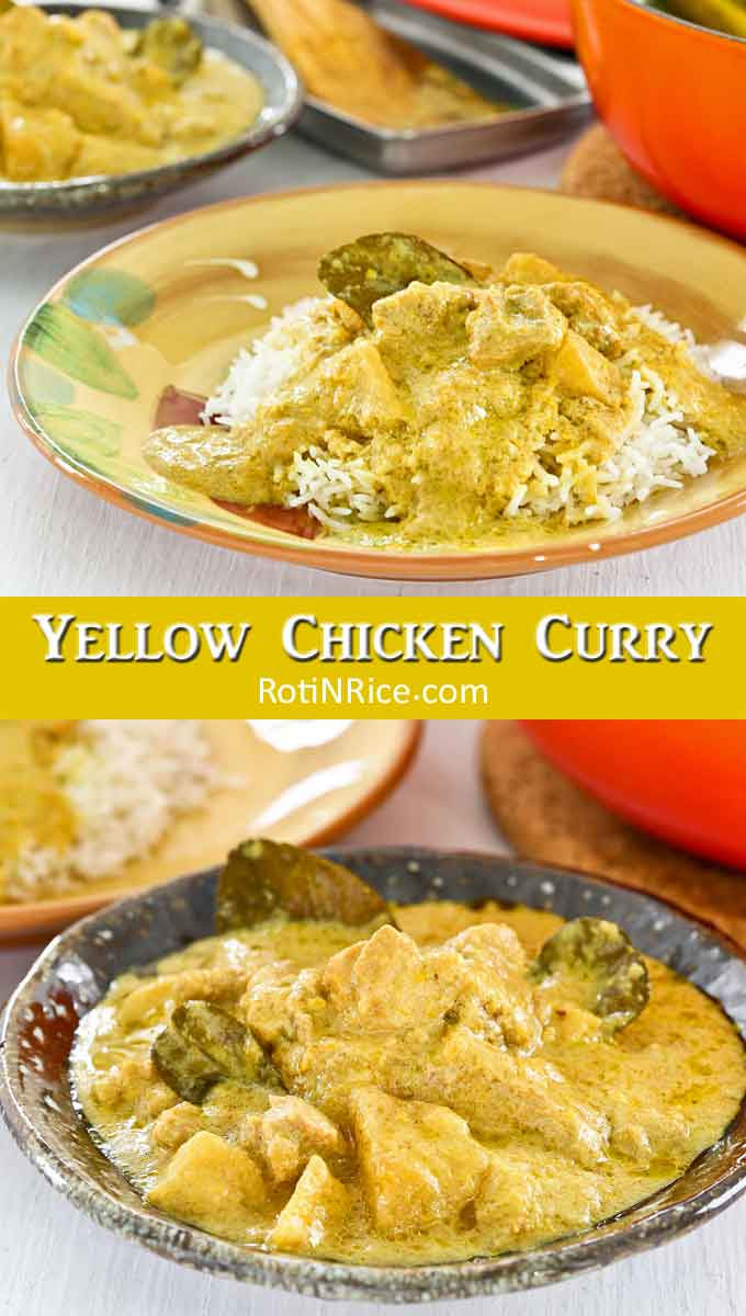 Fresh turmeric, lemongrass, lime juice, and kaffir lime leaves make this creamy Yellow Chicken Curry very aromatic and delicious. Perfect with naan or rice. | RotiNRice.com #chickencurry #curry #kaffirlimeleaves
