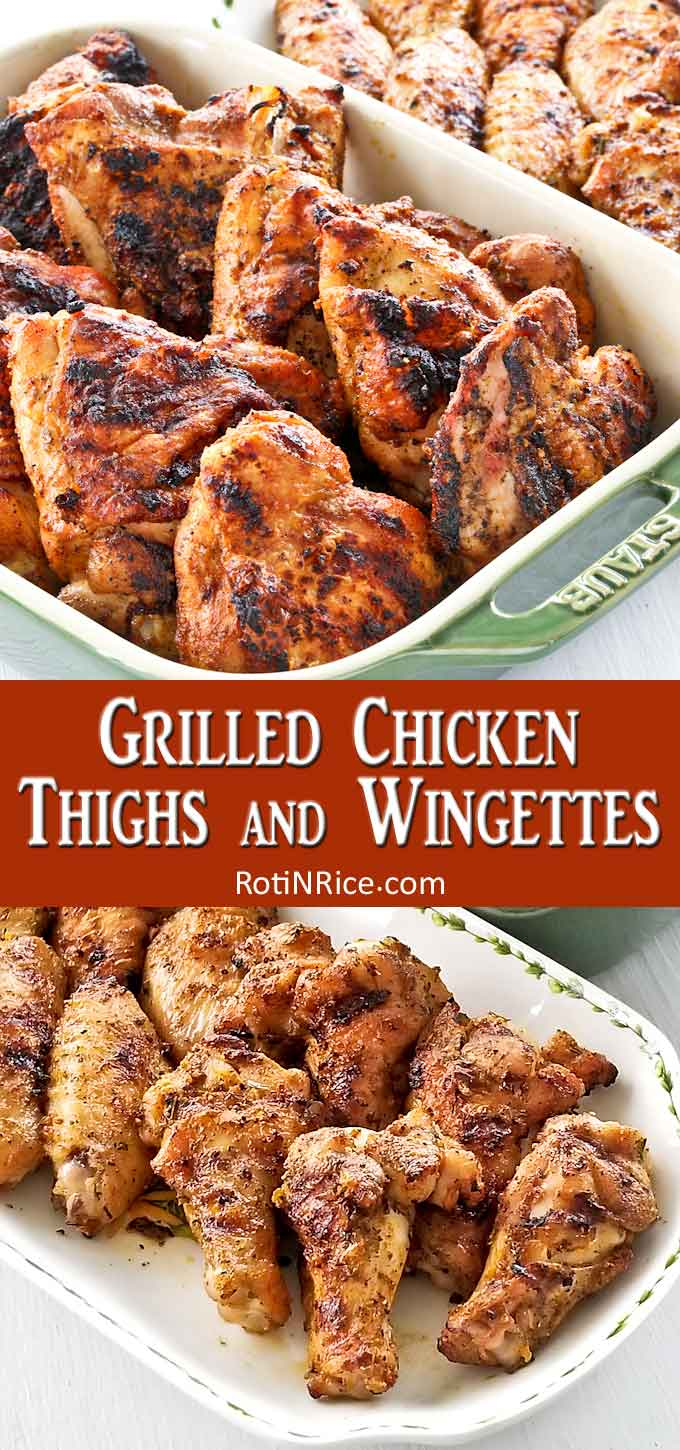 Perfectly grilled chicken thighs and wingettes