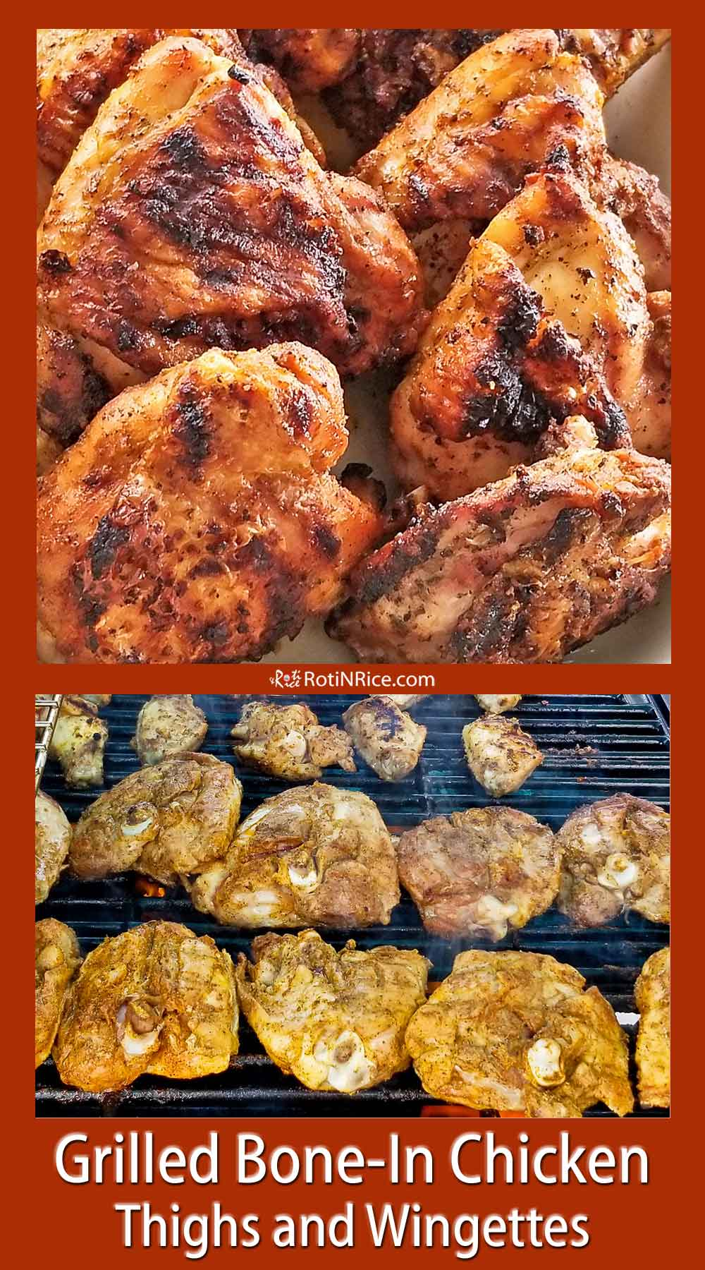Grilled Bone-In Chicken Thighs and Wingettes