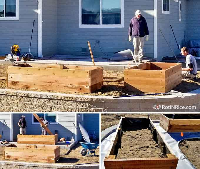 Constructing the raised vegetable beds