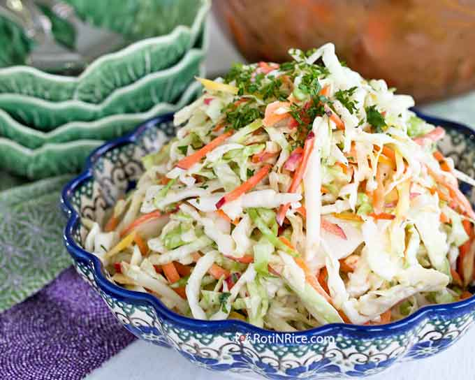 Freshly made Coleslaw with Carrot Tops
