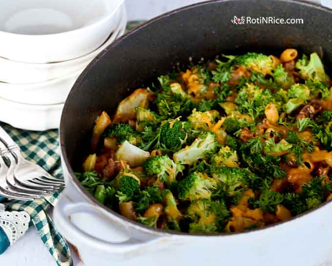 Cheesy Beef Goulash with broccoli for a complete on-pot meal.