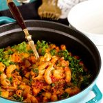 Cheesy, warm, and delicious Beef Goulash ready to be served.