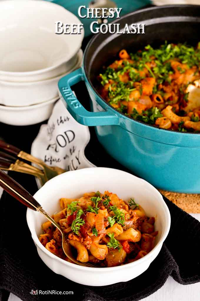 Dig into this bowl of cheesy, warm, and delicious beef goulash.