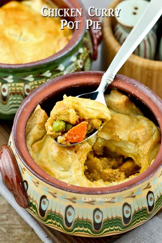 A spoonful of piping hot and delicious Chicken Curry Pot Pie.