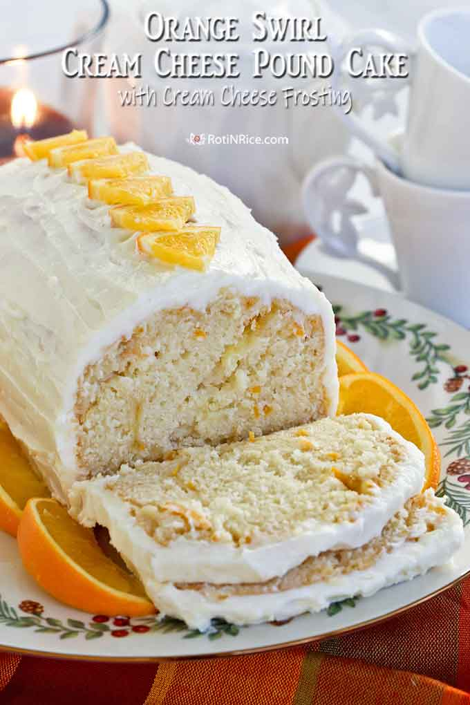Slices of this moist and delicious Orange Swirl Cream Cheese Pound Cake.