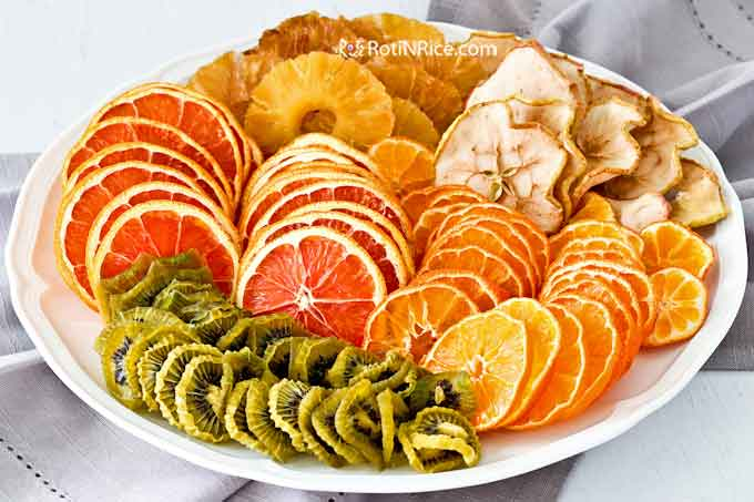 A beautiful and colorful plate of Dried Fruits in Oven.