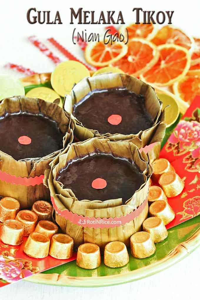 Gula Melaka (Or Kim/Black Gold) Tikoy decorated for the Chinese New Year.