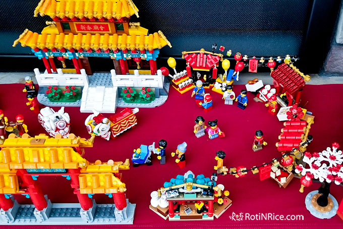 A close up of part of the Lego Chinese New Year Temple Fair.