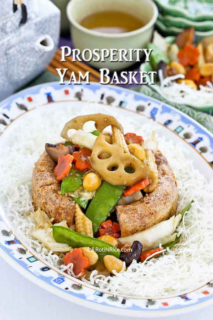 Prosperity Yam Basket piled high with Stir Fry Mixed Vegetables.