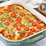 This easy Sausage Tomato Egg Bake is perfect for a weekend breakfast or brunch. The potato base makes it a hearty, delicious, and satisfying meal. | RotiNRice.com #eggbake #eggcasserole #breakfastrecipes #sausage #eggs