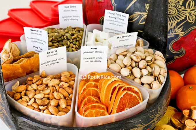 Beautifully arranged dried fruits, melon seeds, and nuts in Tray of Togetherness.