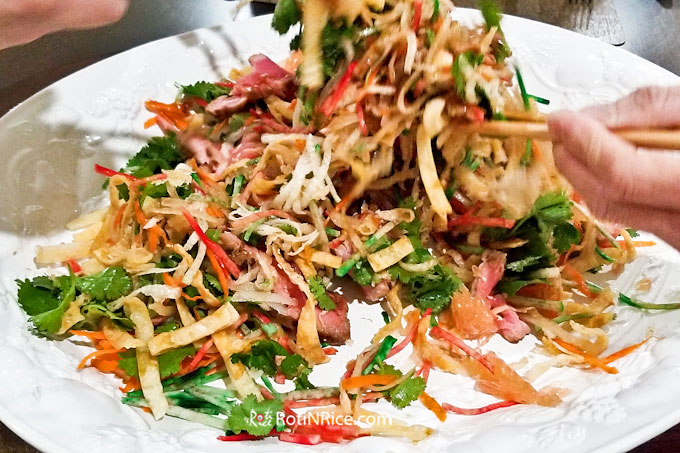 More vigorous tossing of this Yusheng/Yee Sang with Seared Ahi Tuna for a prosperous Chinese New Year.