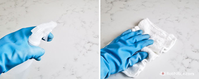 Spray clean countertop with diluted isopropyl alcohol and let it sit for 3 minutes.