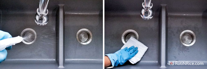 Spray kitchen sink with diluted isopropyl alcohol and allow it to sit for 3 minutes.