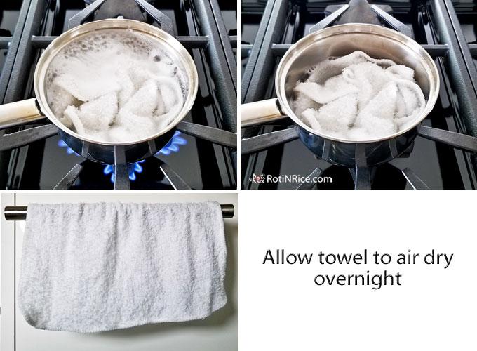 Sterilizing the kitchen cloth.
