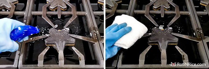 Spray range grates with diluted dish soap and wipe it down.