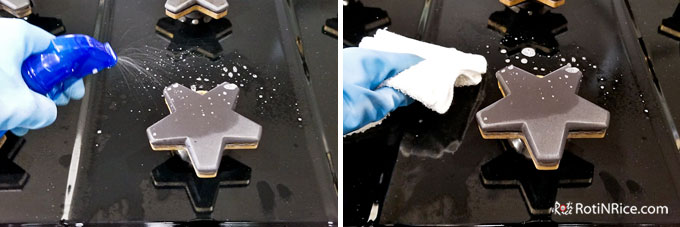 Remove range grates and spray rangetop with diluted dish soap and wipe down.