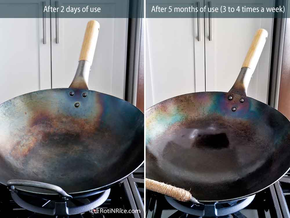 Comparison of wok after 2 days of use versus after 5 months of use.