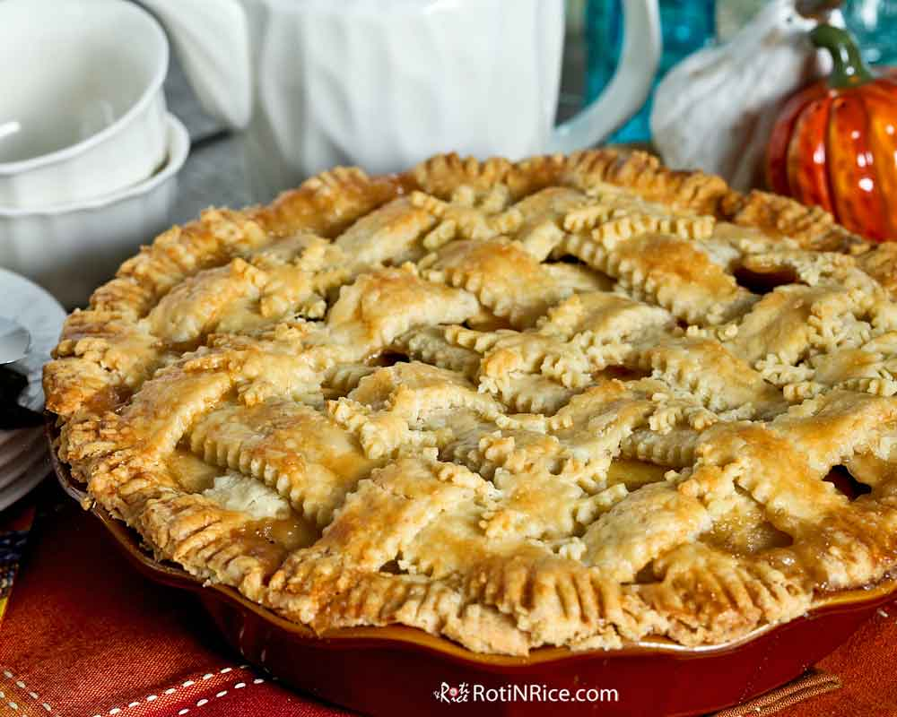 Apple Cranberry Pie with flaky lattice crust.