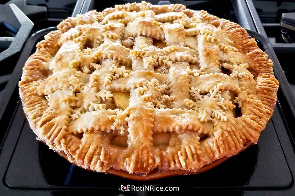 Apple Cranberry Pie fresh out of the oven.