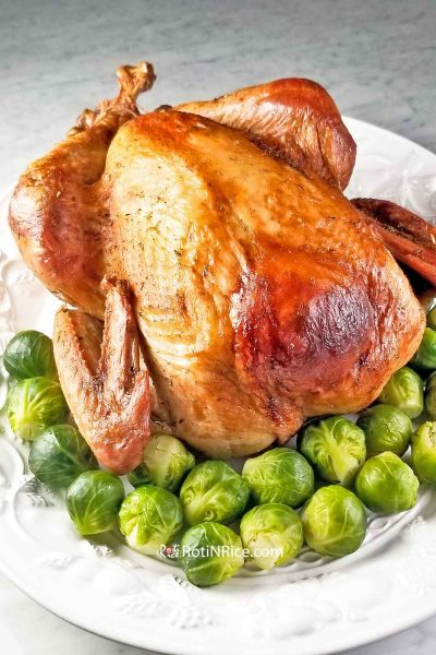 Make Ahead Roast Turkey with steamed brussel sprouts.