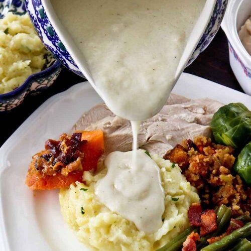 Creamy Turkey Gravy perfect with Creamy Mashed Potatoes.