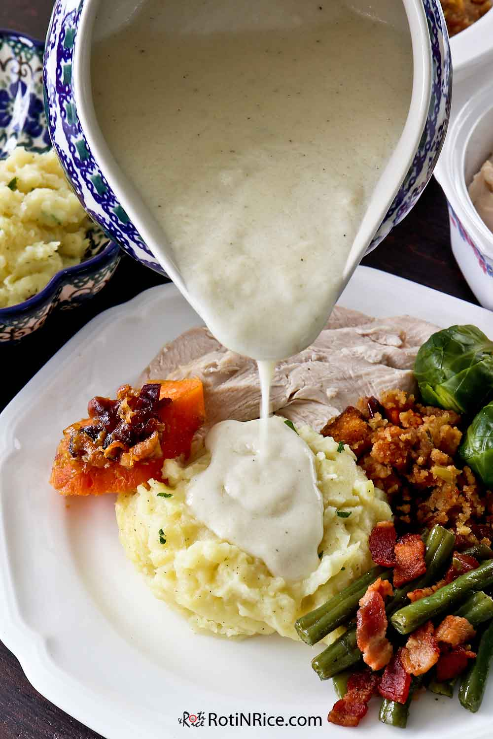 Creamy Turkey Gravy perfect with Creamy Mashed Potatoes.